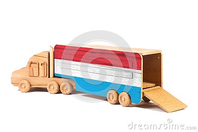 Close-up of a wooden toy truck