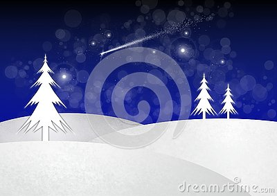Illustration of Christmas Trees standing a snowy landscape