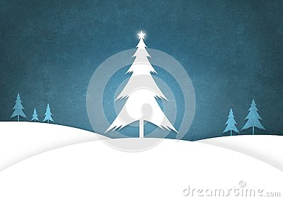 Christmas Trees standing a snowy landscape