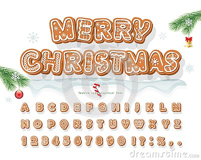 Christmas Gingerbread Cookie font. Bisquit traditional decorative alphabet. Hand drawn cartoon colorful letters, numbers