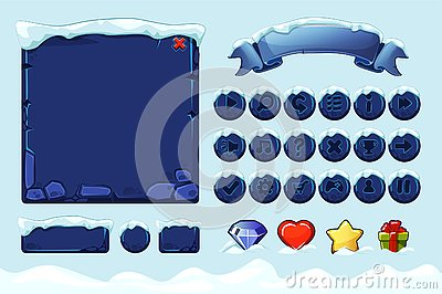 Winter game ui stones buttons with snow. Vector set stone assets, Interface, icons and buttons For Ui Game