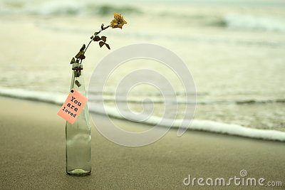 Paper message on the bottle - You are loved. With white light background of the beach & waves motion, white dried rose.