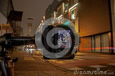Camera at night on a tripod with long exposure