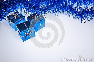 Christmas and New Year holidays background greeting card with gifts free space for your text