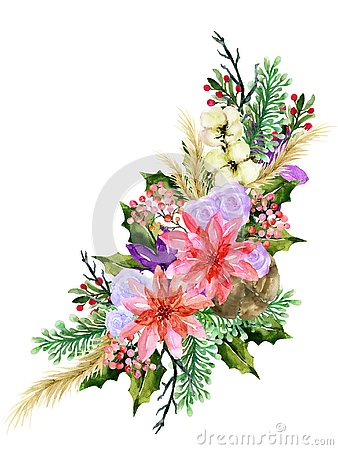 Watercolor vintage floral poinsettia rose new year christmas sweet flower and leaves foliage set bouquet wreath for greeting card