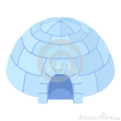 Igloo ice house icon, blue snow dome