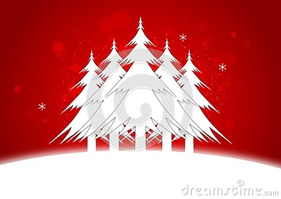 Illustration of Five Christmas Trees standing on a snowy landscape.