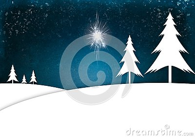 Illustration of Christmas Trees standing in a snowy landscape