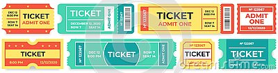 Admit one tickets. Circus entries coupon, retro cinema ticket and movie entrance coupons vector set