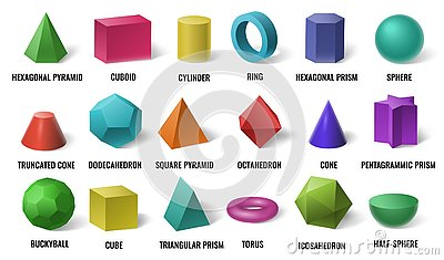 Realistic 3D color basic shapes. Solid colored geometric forms, cylinder and colorful cube shape vector illustration set
