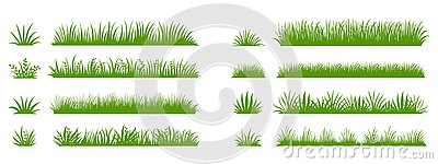 Green grass silhouette. Cartoon lines of plants and shrubs for boarding and framing, eco and organic logo element