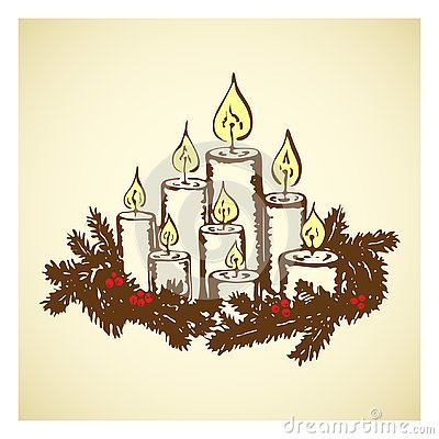 Hand drawn vintage burning candles with christmas tree wreath. Cute engraved holiday decoration for Merry Christmas greeting card