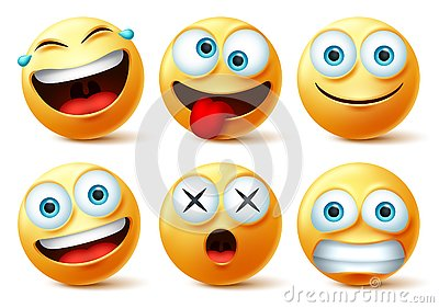 Smileys emoji and emoticon faces vector set. Smiley emojis or emoticons with crazy, surprise, funny, laughing, and scary.