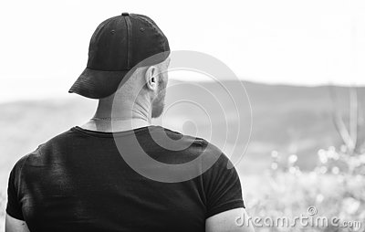 Thinking about future. man looking forward. achive success. future goals. thinking of opportunities. muscular man