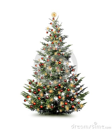 Brightly decorated Christmas tree isolated on white background