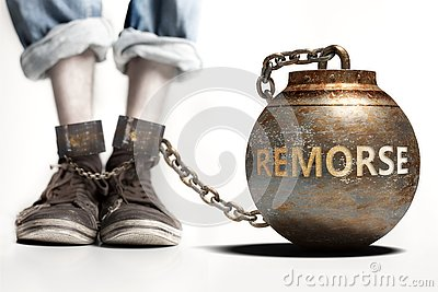 Remorse can be a big weight and a burden with negative influence - Remorse role and impact symbolized by a heavy prisoner`s weigh