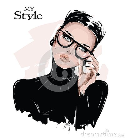 Hand drawn beautiful young woman in eyeglasses. Stylish girl in black shirt. Fashion woman look. Sketch.