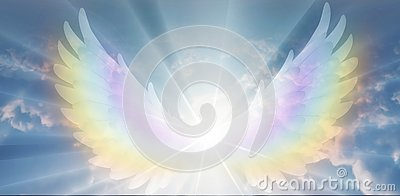 Spiritual guidance, Angel of light and love doing a miracle on sky, rainbow angelic wings