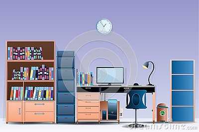 Interior room Office layout Design a comfortable office room Illustration vector On cartoons style Wall colorful background
