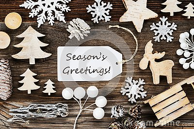 Label, Frame Of Christmas Decoration, Text Seasons Greetings