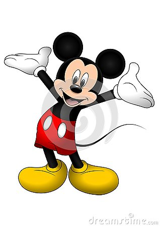 Disney vector illustration of Mickey Mouse isolated on white background