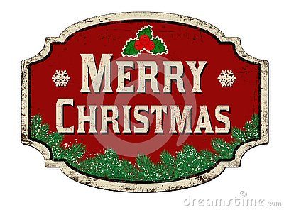 Merry Christmas vintage rusty metal sign