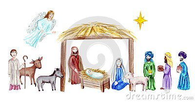 Christmas Crib, Holy Family, Christmas nativity scene with baby Jesus, Mary and Joseph in the manger with sheep, cow