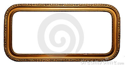 Wide gold plated wooden picture frame