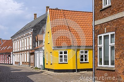 View into the small lanes of the idyllic town Ribe, Denmark