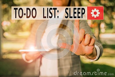 Writing note showing To Do List Sleep. Business photo showcasing Things to be done Priority object is to take a rest