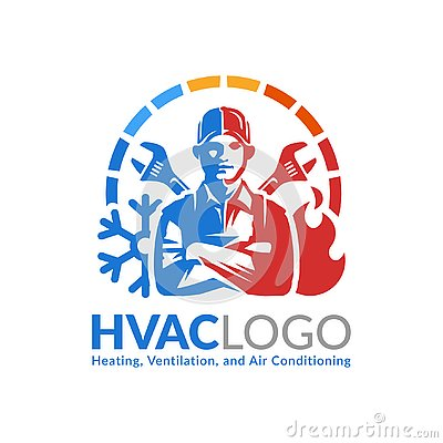 HVAC logo design, heating ventilation and air conditioning logo or icon template