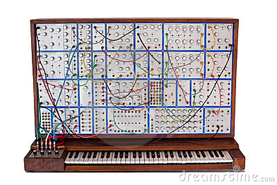 Vintage analog modular synthesizer with patchcords