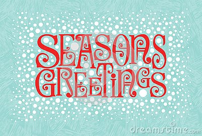 Holiday design with retro typography and snow in red and aqua. Seasons Greetings.