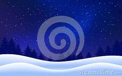 Vector winter starry background. Night with fir trees snow dark blue sky. Vector illustration. Merry Christmas card
