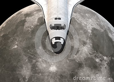Partial view of the head of a space shuttle plane hovering over the moon