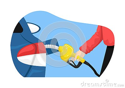 Vector isolated illustration with a man filling a car with gasoline at a gas station