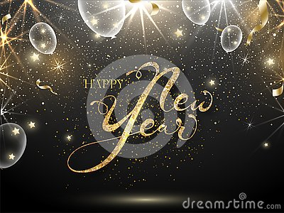 Golden Glittering Font of Happy New Year Text with White Transparent Balloons, Stars and Lights Effect