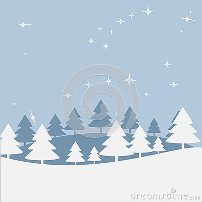 Christmas landscape at night. Postal map with a hill, trees, star sky. Greeting or postal map, paper of Art of vectorial