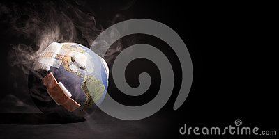 White smoke cover around the globe World full of bandages, demonstrating impact of global warming, climate change, pollution.