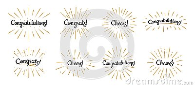 Congratulations lettering. Congrats label, cheers celebration and congratulation text badges with golden burst vector
