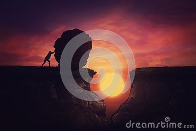 Man found solution in difficult situation, pushing a huge boulder to fill the gap obstacle. Using rock, cover the abyss hole and