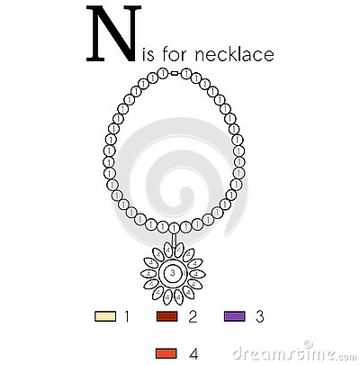 Necklace. Vector alphabet letter N, colouring page