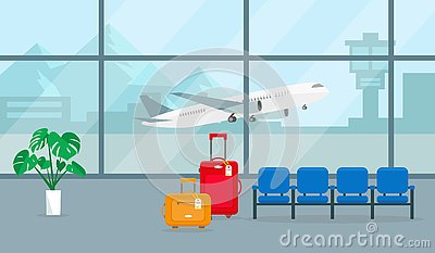 Airport hall or waiting room. Vector illustration.