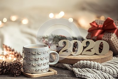 Background festive new year background with numbers 2020