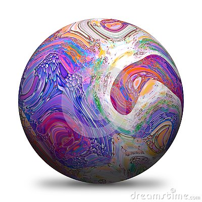 3D rendered sphere with multicolored paintings and drop shadow