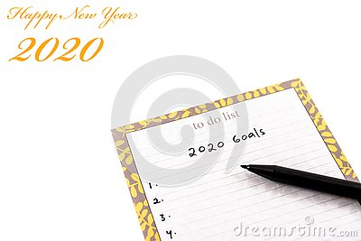 Happy new year 2020 greeting card or template with text on white background