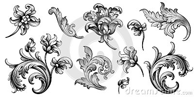 Flower vintage Baroque scroll Victorian frame border floral ornament engraved retro pattern rose peony tattoo filigree vector