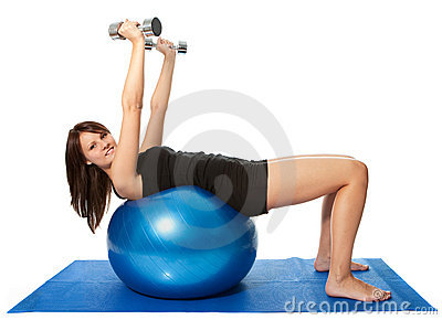 Yoing women doing weight training