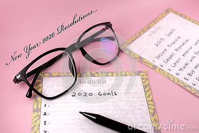 Happy new Year 2020 card and template with text on pink background