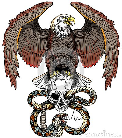 Eagle, snake and human skull. Design template